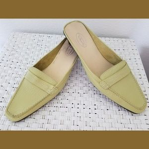 Talbots Square Toe Green Slip On Mules Sz 9